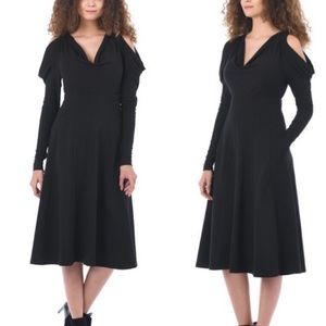 Eshakti Black Cold Shoulder Long Sleeve Midi Dress